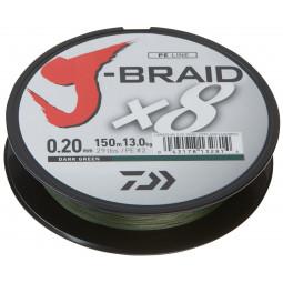 DAIWA J-Braid X8 tmavo zelená 300 m Pletená šnúra
